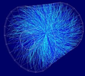 One of the first lead-lead collisions at the LHC, recorded by the ALICE detector in November 2010. Note the large number of particle tracks. Image credit: ALICE Collaboration